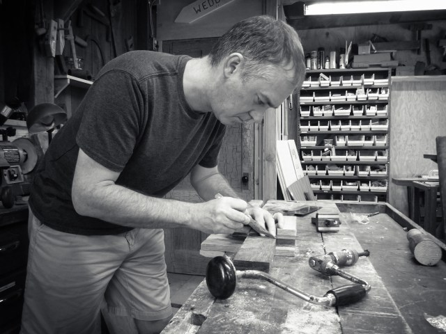Self-portrait in the workshop.