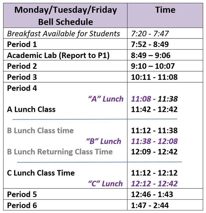 About Our School / Bell Schedule
