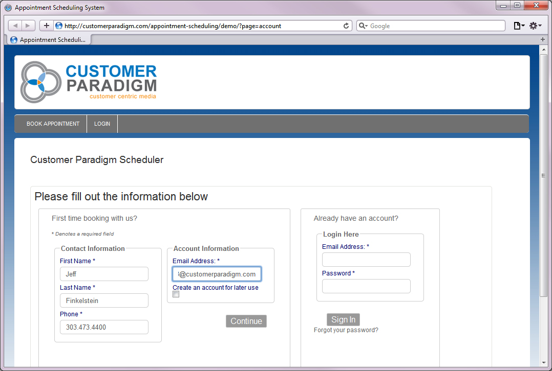 Customer Paradigm - Web Based Appointment Scheduling php Software