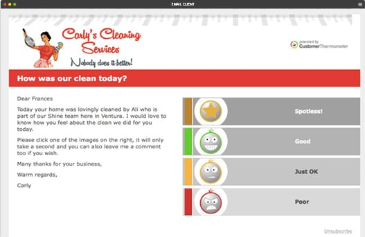 cleaning satisfaction survey - Customer Thermometer