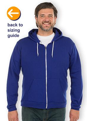 CustomInk Sizing Line-Up for American Apparel Flex Fleece Zip