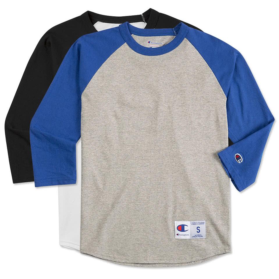 Design custom printed champion baseball raglan shirts online at customink
