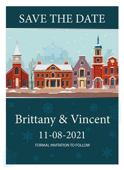 5x7 Custom Cute Town at Christmas Season Wedding Save the Date