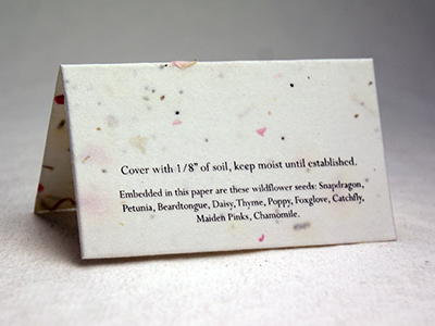 Die Cut Seed Paper Place Cards