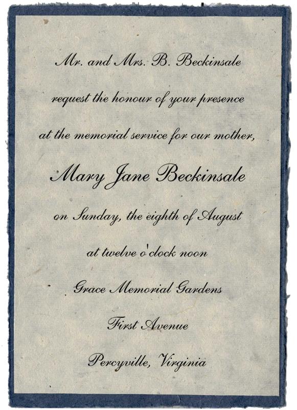 Memorial Invitations from Handmade Paper Wedding Invitations