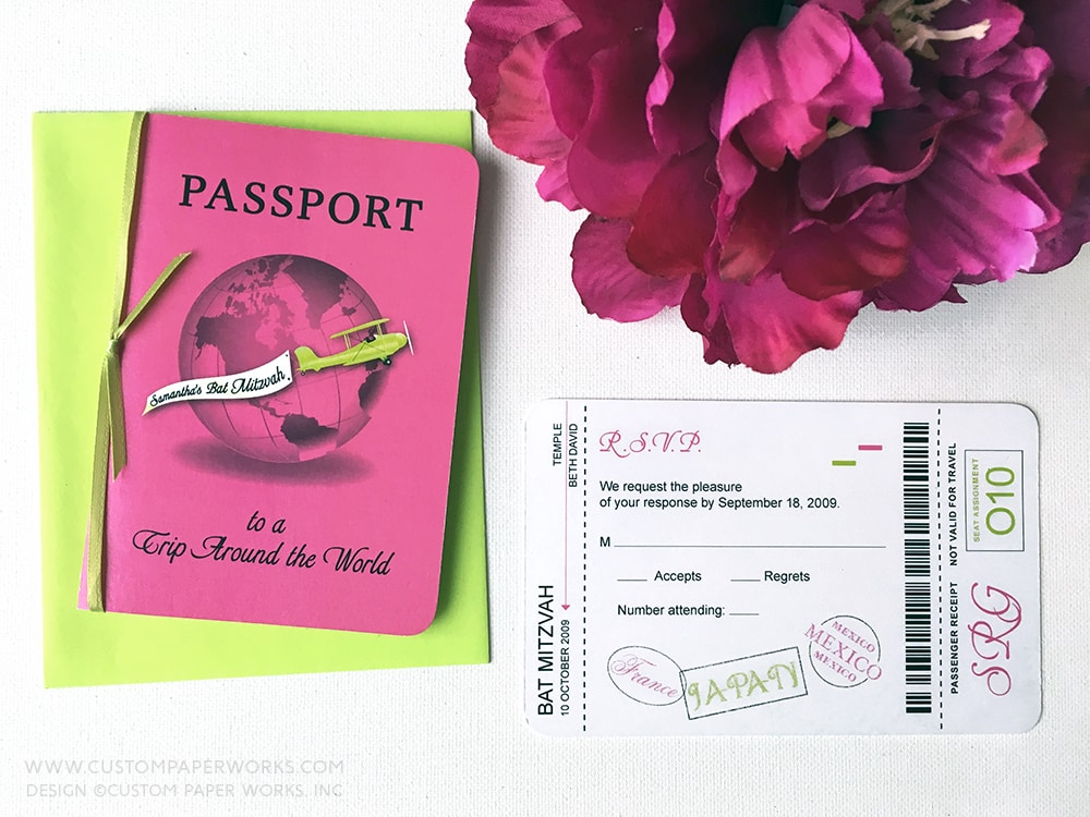 Neon Pink  Green Around the World Bat Mitzvah Invitation \u2013 Custom