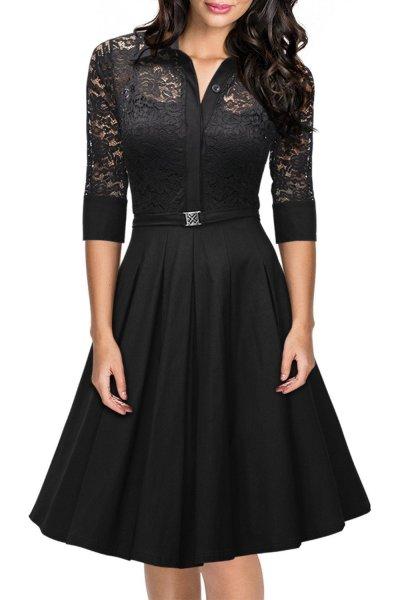 Vintage 1950s Style 34 Sleeve Black Lace Flare A-line Dress - Black