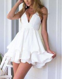 Sexy Deep V Neck Spaghetti Strap Mini Dress - Cute Dresses