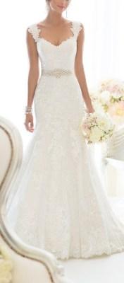 Elegant Off-Shoulder Crystal Lace Wedding Dress