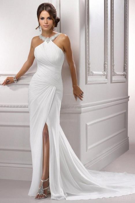 Shealth Halter Court Train Chiffon Wedding Dress