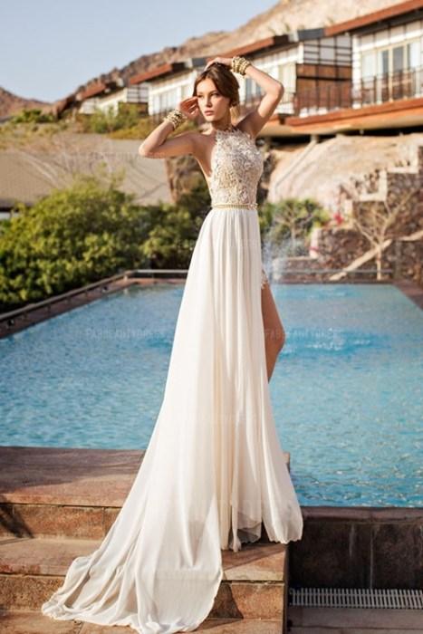 Princess Jewel Court Train Chiffon Wedding Dress
