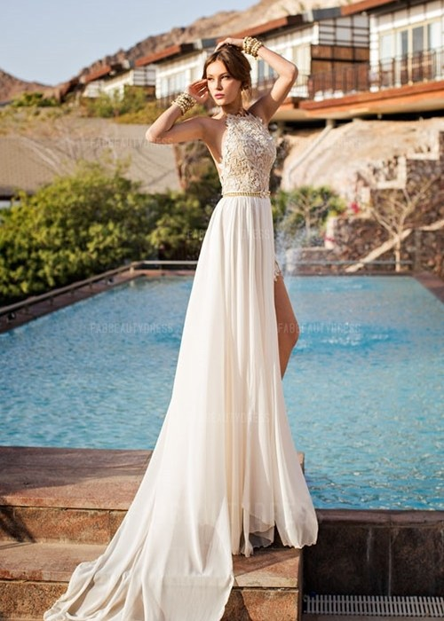 Princess Jewel Court Train Chiffon Wedding Dress