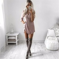 Casual Sexy Shirt Mini Dress