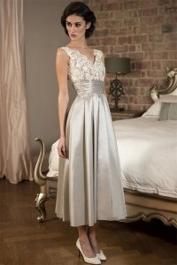 V Neck Sleeveless Tea Length Mother of the Bride Dress ...
