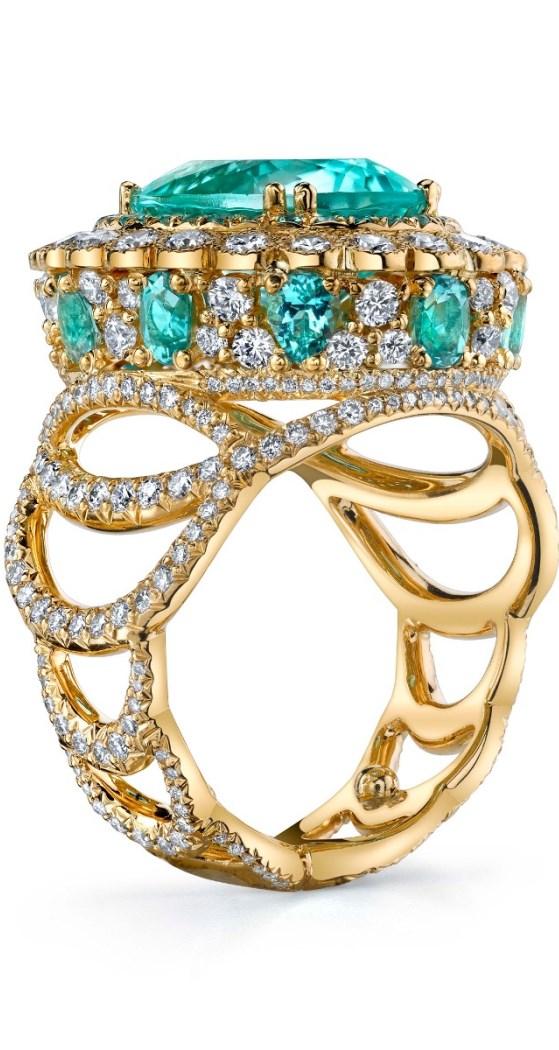 Easter Egg Pariaba Tourmaline Wedding Ring