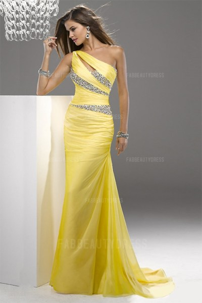 One Shoulder Court Train Chiffon Prom Dress