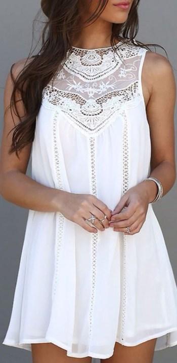 Cute Fashion Lace Hollow Splicing Pinafore Mini Dress