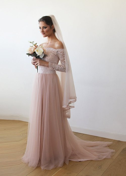 Pink Off-The-Shoulder Lace and Tulle Train Wedding Gown