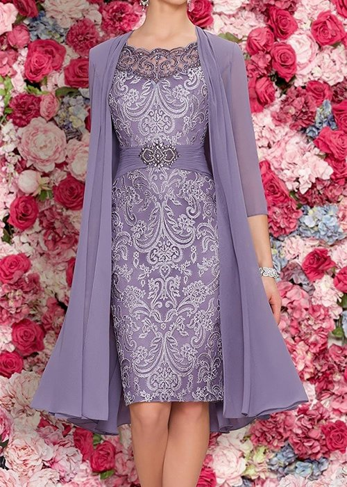Mother Of The Bride Dresses Tea Length Two Pieces With Jacket purple