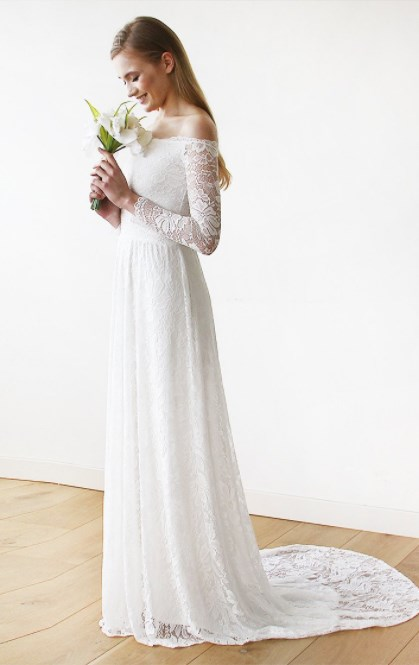 Off The Shoulder Wedding Dress Floral Lace Long Sleeve with Train