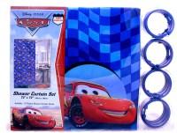 Disney Cars Mcqueen Shower Curtain/Bath Toilet Mat Set