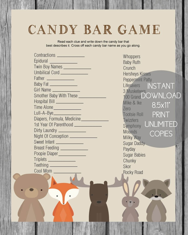 Printable Baby Shower Candy Bar Game CutestBabyShowers