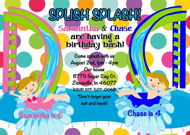 Pool Party Invitations - Boy, Girl, Kids, Twins or Siblings