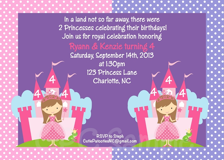 Pink and Purple Princess Birthday Invitation for Twins or Siblings