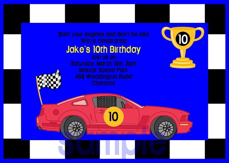 Race Cars Birthday Invitations - Printable or Printed