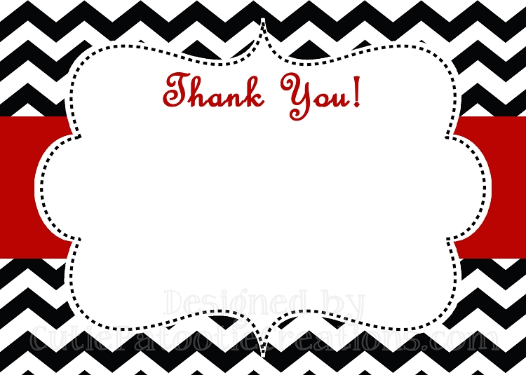 Black White Red Chevron Print Thank You Card - Printable or Printed - printable thank you cards black and white