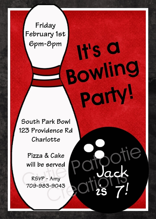 Red Bowling Birthday Party Invitation for Boys Cutie Patootie