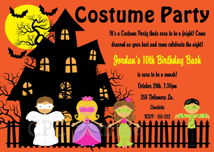 Halloween Costume Party Invitations Printable Or Printed
