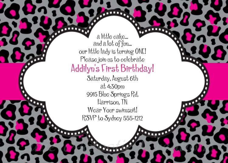 Black And Pink Leopard Print Invitations Printable Or Printed