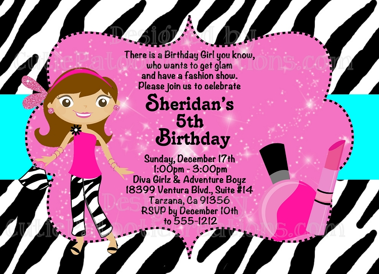 Glamour Girl Birthday Invitation, Printable or Printed