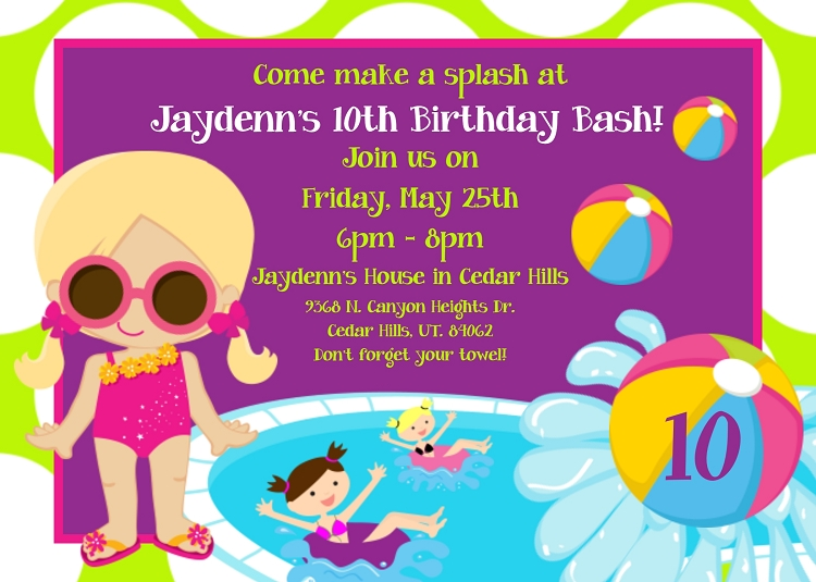 Pool Party Invitations - Printable or Printed