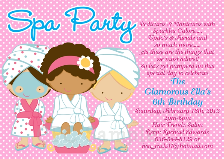 Spa Party Birthday Invitations Sleepover Invitations - Printable - spa invitation