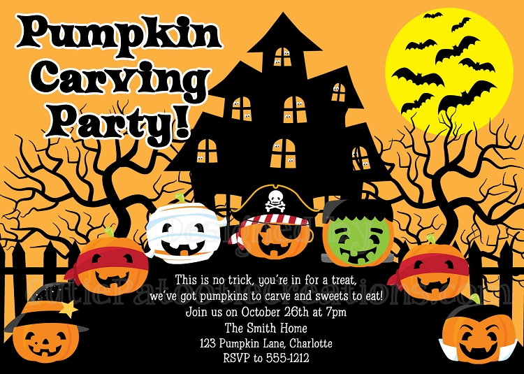 Pumpkin Carving Party Invitations Halloween Party Invitations - invitation for halloween party