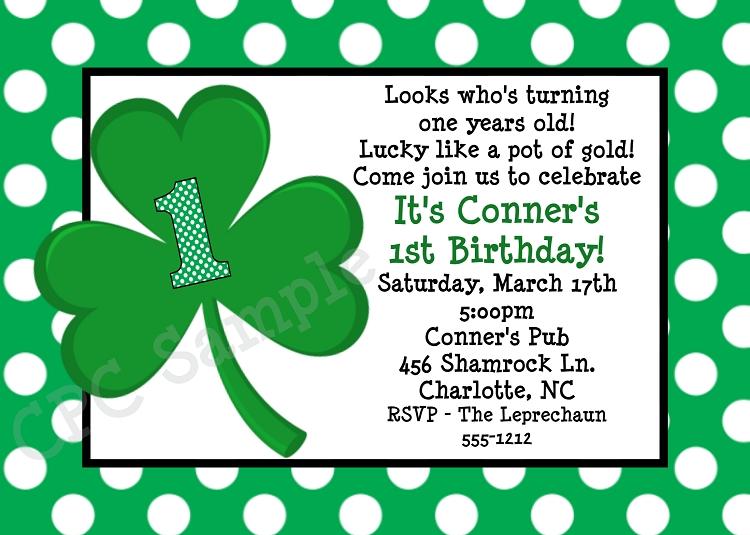 Green Polka Dot St Patricks Day Birthday Invitations