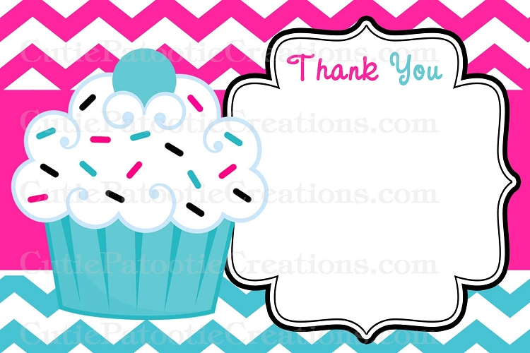 Cupcake Thank You Cards - Pink Turquoise Chevron Print - Printable