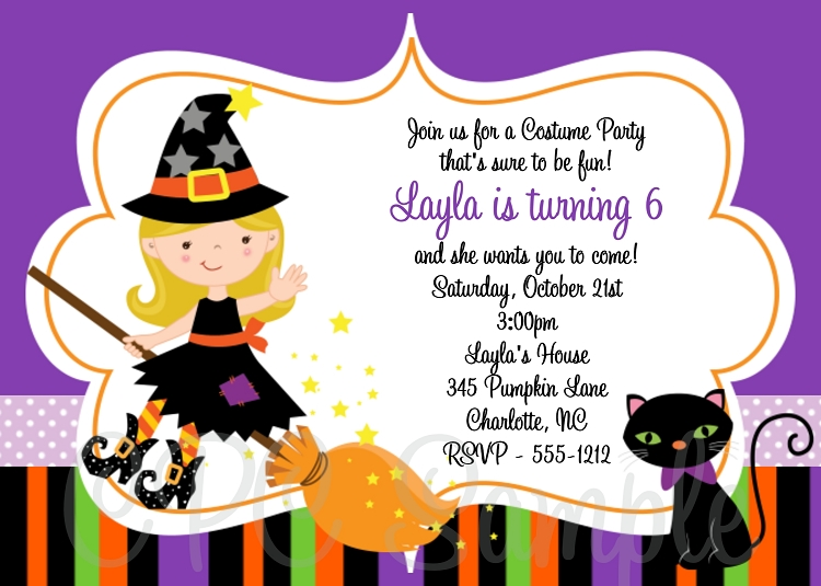 Witch Birthday Invitations Halloween Party Invitations - Printable