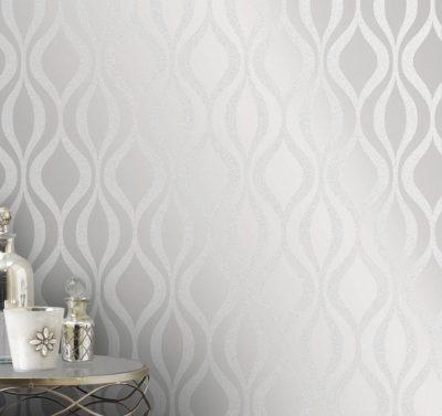 Fine Decor Monaco Geo Wallpaper - FD42239 -Silver Grey