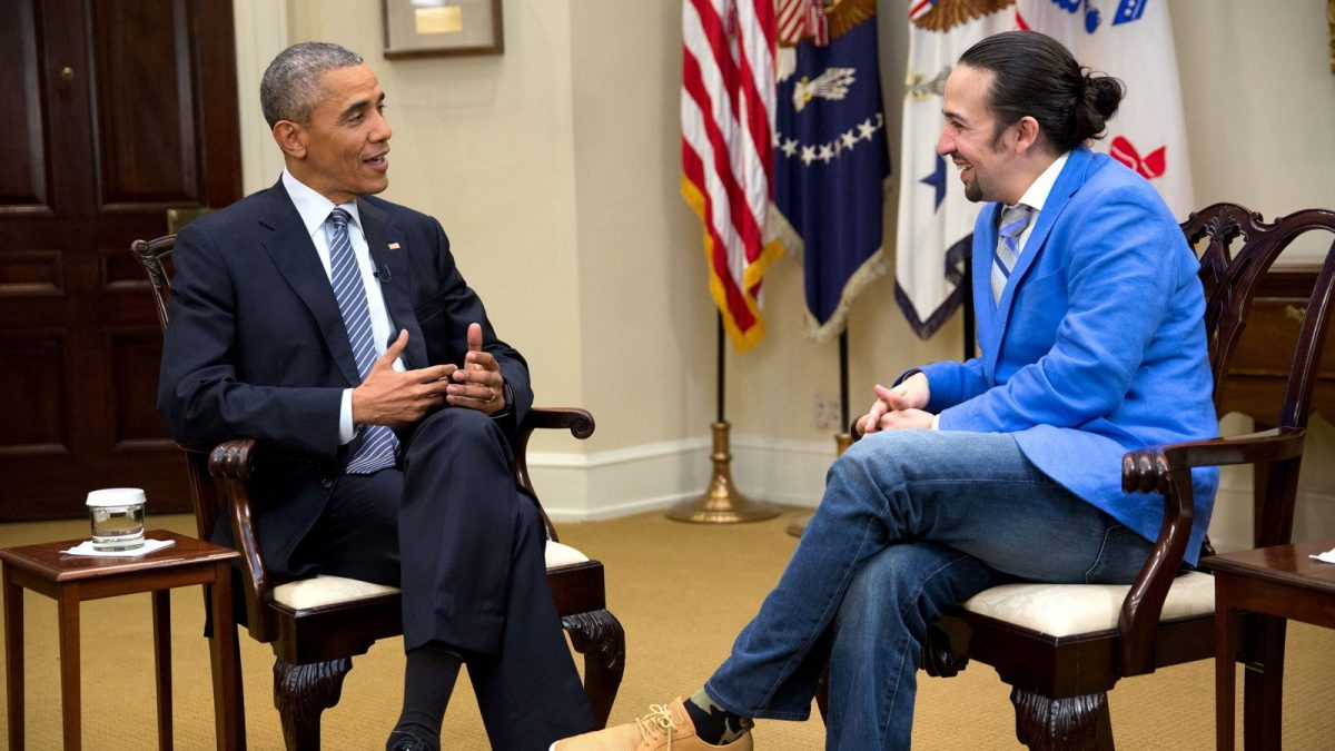 """President Barack Obama participates in an interview with Lin-Manuel Miranda for the PBS documentary """"Hamilton's America"""" in the Roosevelt Room of the White House, March 14, 2016. (Official White House Photo by Chuck Kennedy) This photograph is provided by THE WHITE HOUSE as a courtesy and may be printed by the subject(s) in the photograph for personal use only. The photograph may not be manipulated in any way and may not otherwise be reproduced, disseminated or broadcast, without the written permission of the White House Photo Office. This photograph may not be used in any commercial or political materials, advertisements, emails, products, promotions that in any way suggests approval or endorsement of the President, the First Family, or the White House."""