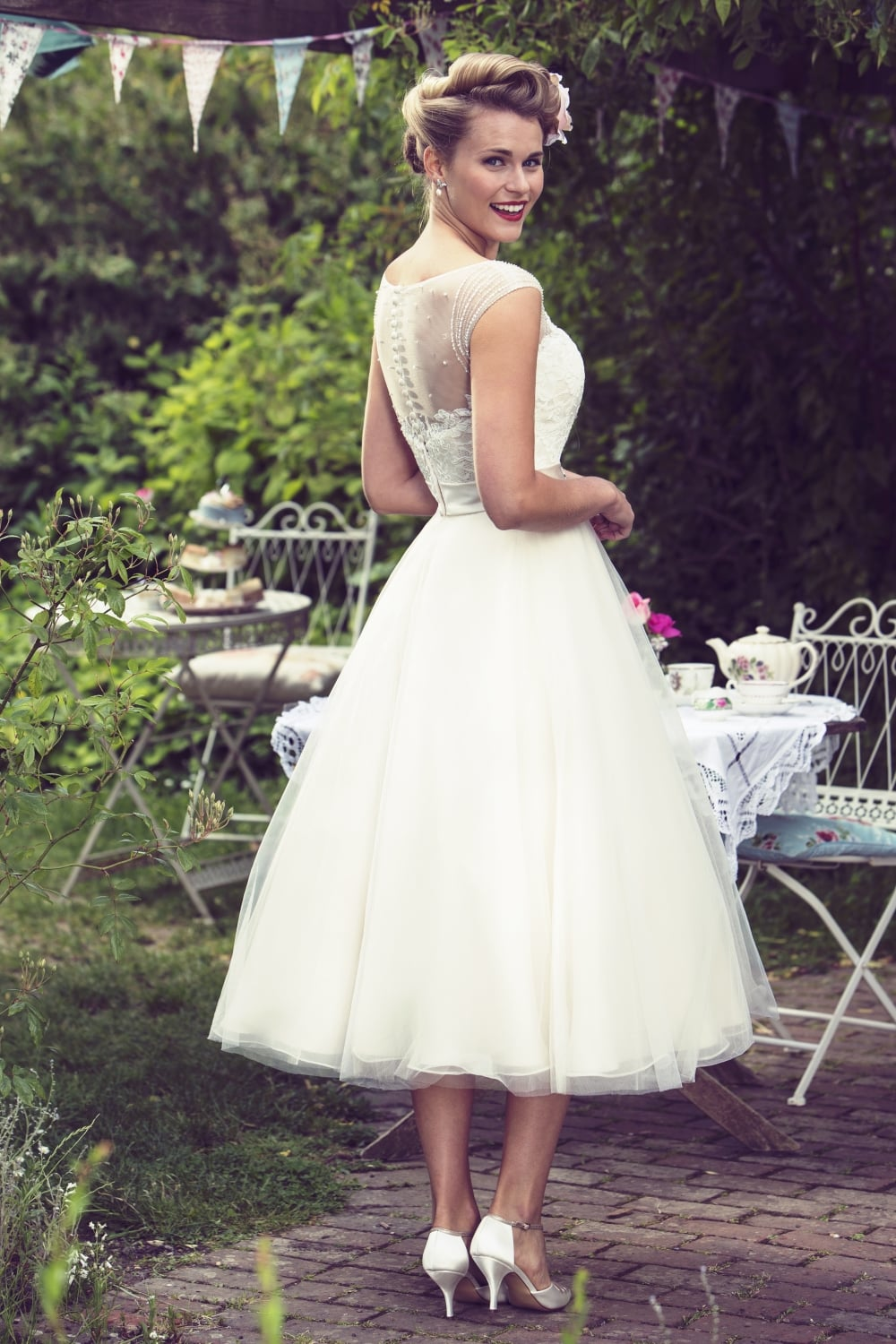 fifties tea length page 3 50s style wedding dresses 86 lisette 50 s style length spotted tulle applique wedding dress