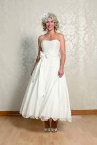 Alice Calf Length Ivory Silk Strapless Short Wedding Gown