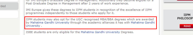 IIPM offers 'UGC recognised' degrees