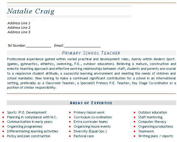 Teaching CV example, templates, (mainstream education) - cv primary school teacher
