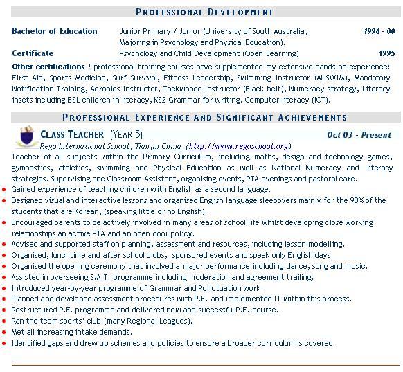 Teaching CV example, templates, (mainstream education) - sports cv example