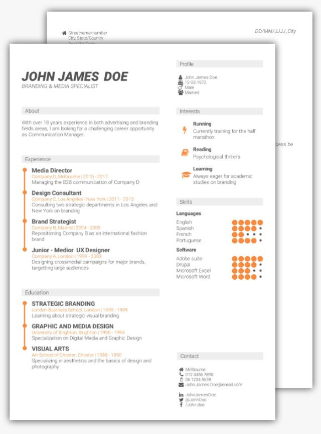 how to create a cv example