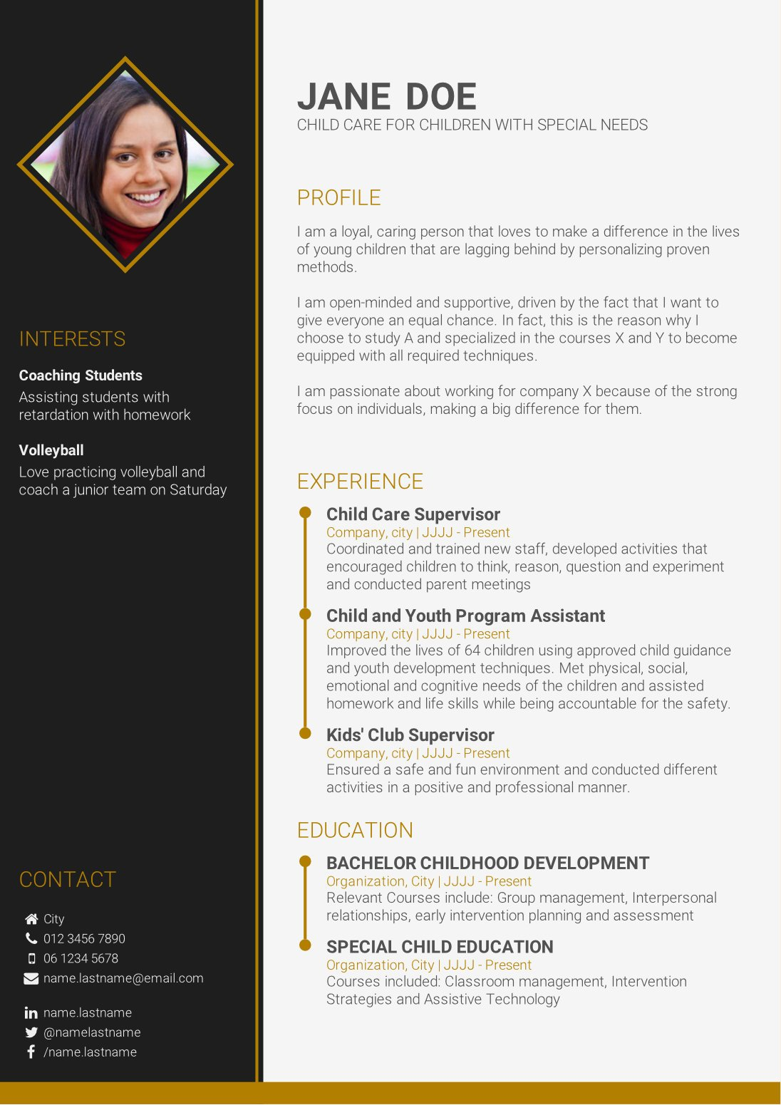 template design cv online