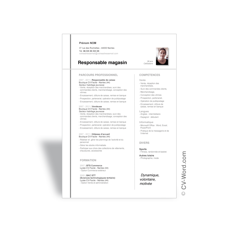 office word modele cv